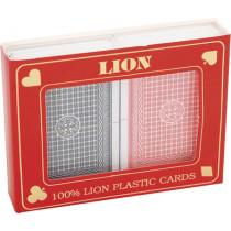 El naipe Conjunto Lion 100% plástico Duobox